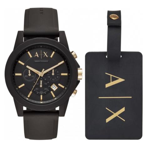 Mens Armani Exchange Luggage Tag Gift Set Chronograph Watch