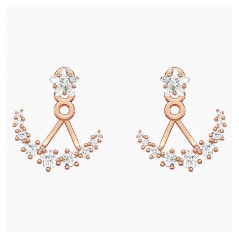 Moonsun Pierced Earring Jackets, White, Rose-gold tone plated Swarovski