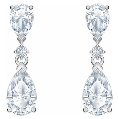 Attract Drop Pierced Earrings, White, Rhodium plated Swarovski