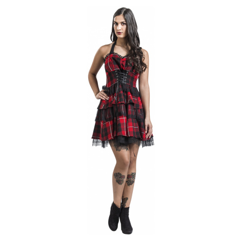 H&R London - Red Tartan Gothic Dress - Dress - black-red