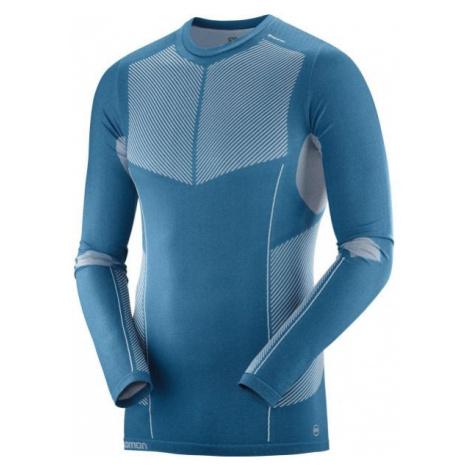 Salomon PRIMO WARM SEAMLESS TEE blue - Men's T-Shirt