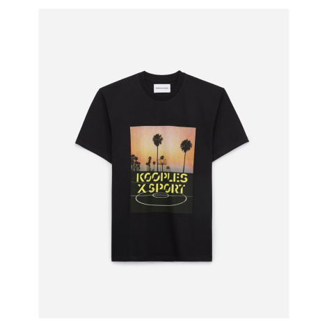 The Kooples - Sporty printed jersey T-shirt with black logo - MEN The Kooples Sport