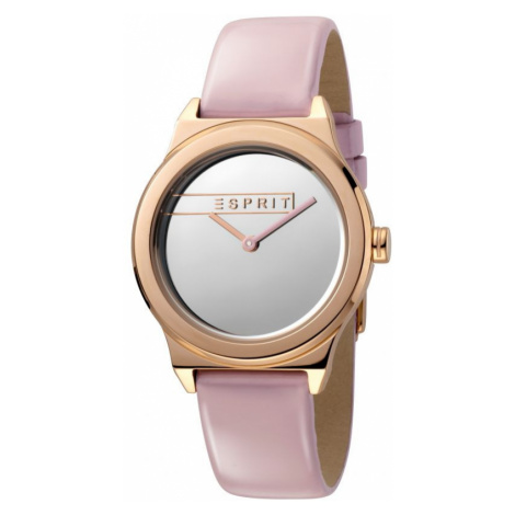 Esprit Magnolia Women's Watch featuring a Pink Patent Leather Strap and Silver Mirror Dial