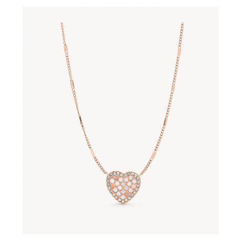 Fossil Women's Mosaic Heart Rose Gold-Tone Stainless Steel Necklace - Rose Gold