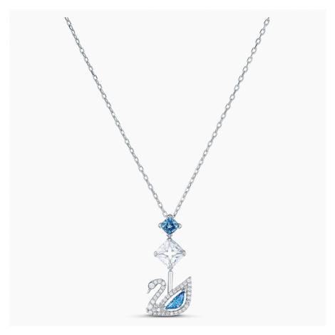 Dazzling Swan Necklace, Blue, Rhodium plated Swarovski