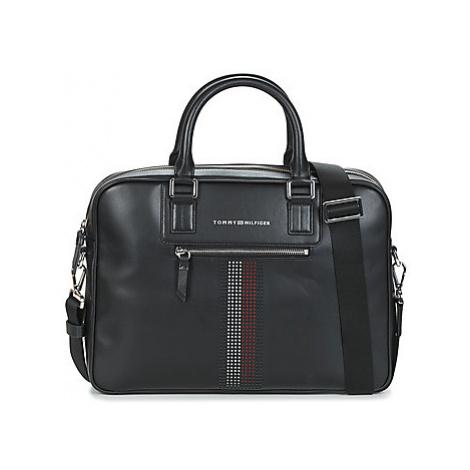 Tommy Hilfiger BUSINESS LEATHER SLIM COMP BAG men's Briefcase in Black