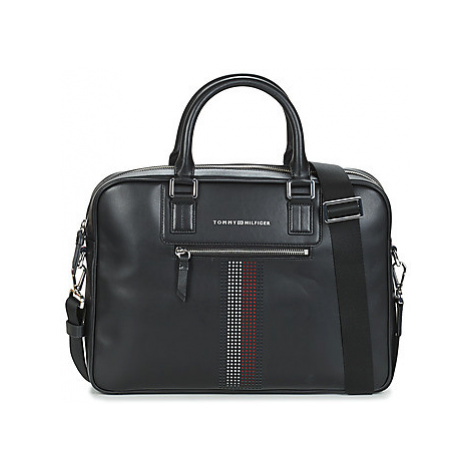 Tommy Hilfiger BUSINESS LEATHER SLIM COMP BAG men's Briefcase in Black