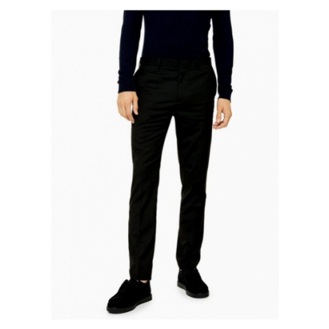Mens Black Skinny Fit Smart Trousers, Black Topman