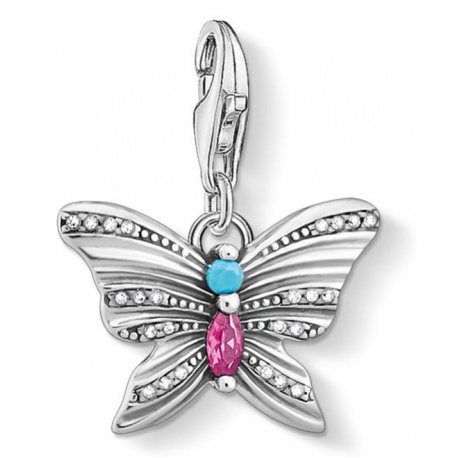 THOMAS SABO Silver Multicoloured Butterfly Charm