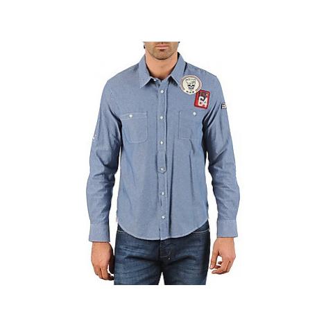 Mr Marcel NEBRASKA men's Long sleeved Shirt in Blue