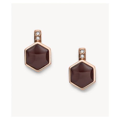 Fossil Women's Hexagon Rose Gold-Tone Stainless Steel Earrings - Rose Gold Tone