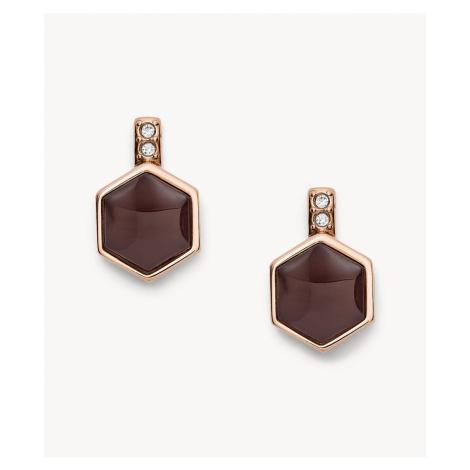 Fossil Women's Hexagon Rose Gold-Tone Stainless Steel Earrings - Rose Gold
