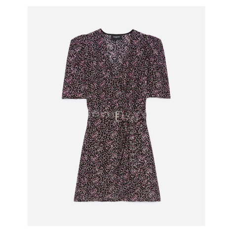 The Kooples - Black and pink patterned wrap dress - WOMEN
