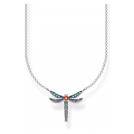 Ladies Thomas Sabo Sterling Silver Glam & Soul Paradise Colours Small Silver Dragonfly Necklace