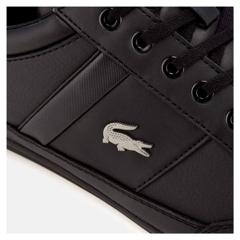 Lacoste Men's Chaymon Bl 1 Leather Low Profile Trainers - Black/Black - UK