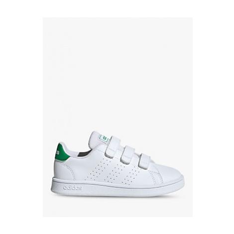 Adidas Junior's Advantage Riptape Trainers, FTWR White/Green/Grey Two