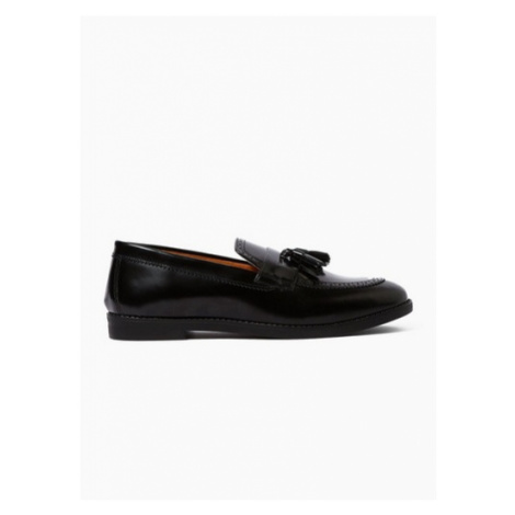 Mens Black Leather Carver Loafers, Black Topman