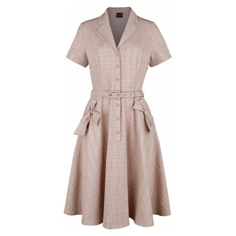 Voodoo Vixen Kenzy Plaid Bow Pocket Button-Up Flare Dress Medium-length dress pink