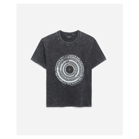 The Kooples - Black cotton T-shirt with vinyl screen print - WOMEN