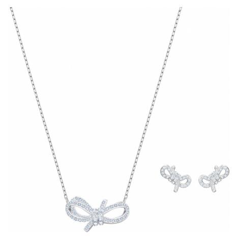 Lifelong Bow Set, White, Rhodium plated Swarovski