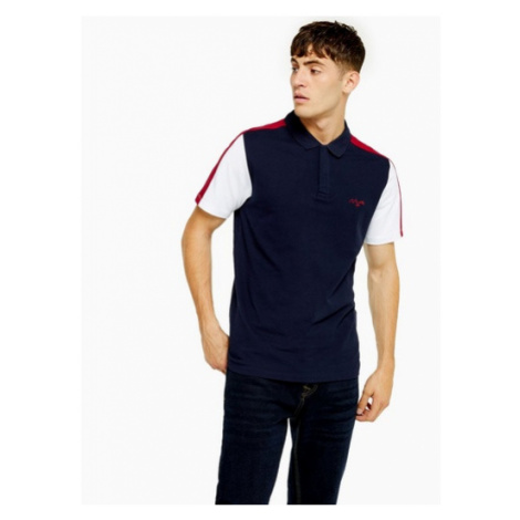 Mens Navy And Burgundy Panelled Polo, Navy Topman