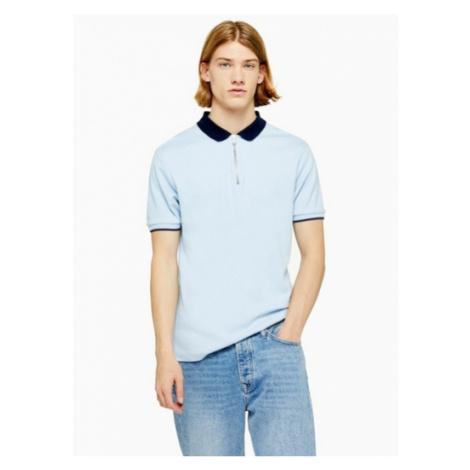 Mens Light Blue And Navy Interlock Polo, BLUE Topman