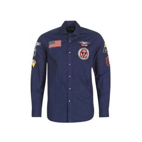 U.S Polo Assn. PATCH SHIRT FC men's Long sleeved Shirt in Blue U.S. Polo Assn