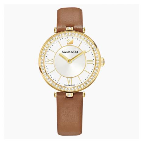 Aila Dressy Lady Watch, Leather strap, Brown, Gold-tone PVD Swarovski