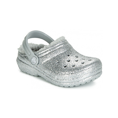 Crocs CLASSIC GLITTER LINED CLOG K girls's Children's Clogs (Shoes) in Silver