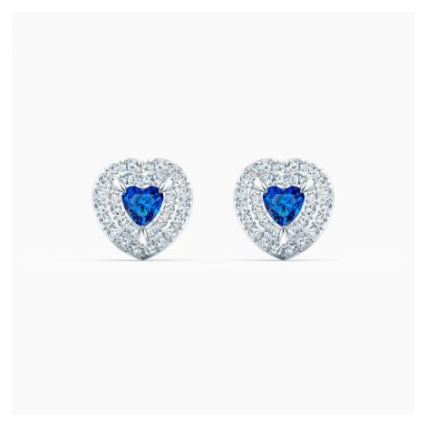 One Stud Pierced Earrings, Blue, Rhodium plated Swarovski