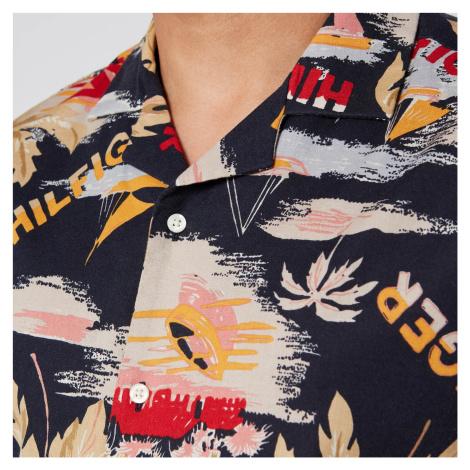 Tommy Hilfiger Men's Hawaiian Print Shirt Short Sleeve Shirt - Desert Sky/Silver Birch/Multi