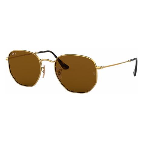 Ray-Ban Hexagonal flat lenses Unisex Sunglasses Lenses: Brown Polarized, Frame: Gold - RB3548N 0