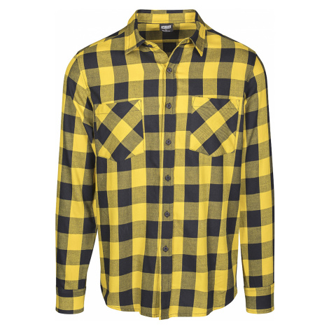 Urban Classics - Checked Flannel Shirt - Shirt - black-yellow