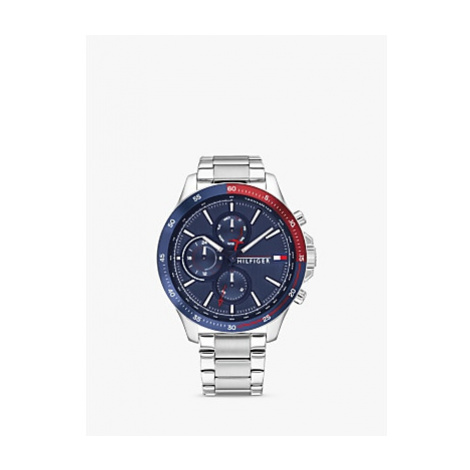 Tommy Hilfiger 1791718 Men's Chronograph Bracelet Strap Watch, Silver/Blue