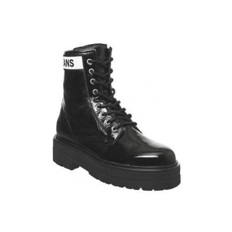 Tommy Hilfiger Platform Leather Flatform Boot BLACK