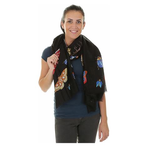 scarf Desigual 17WAWFH2/Rectangle Winter Stripe - 2000/Negro
