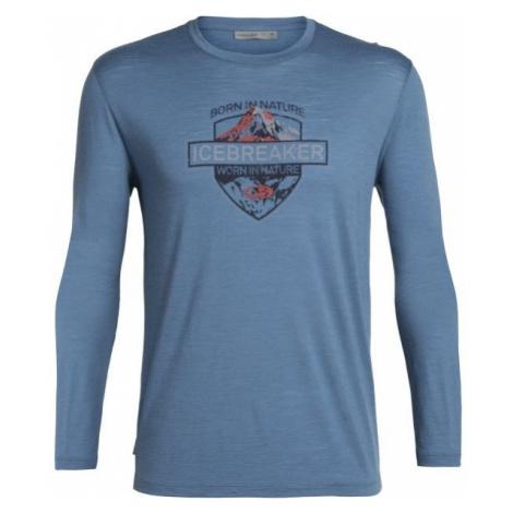 Icebreaker SPECTOR LS CREWE ALPINE CREST blue - Men's daily T-shirt Icebreaker Merino