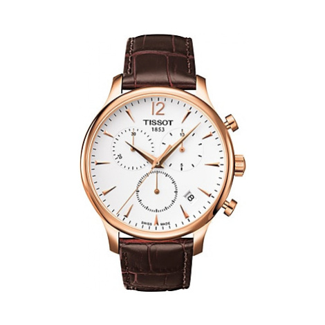 Tissot T0636173603700 Men's Tradition Chronograph Date Leather Strap Watch, Brown/White