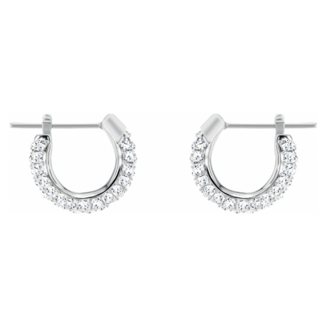 Stone Pierced Earrings, White, Rhodium plated Swarovski