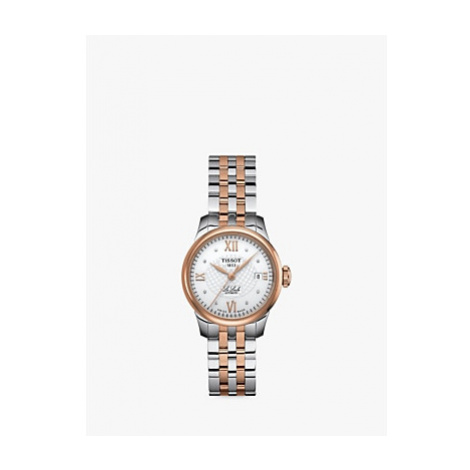 Tissot T41218316 Women's Le Locle Automatic Diamond Date Two Tone Bracelet Strap Watch, Silver/R