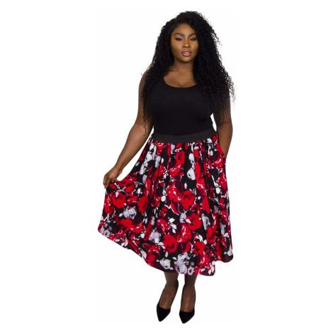 Sofia Rose Print Full Skirt - BLK/RED/GRY Scarlett & Jo