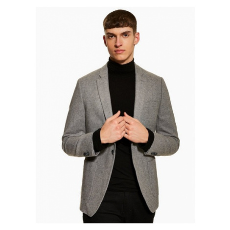 Mens Grey Textured Suit Blazer With Wool And Notch Lapels, Grey Topman