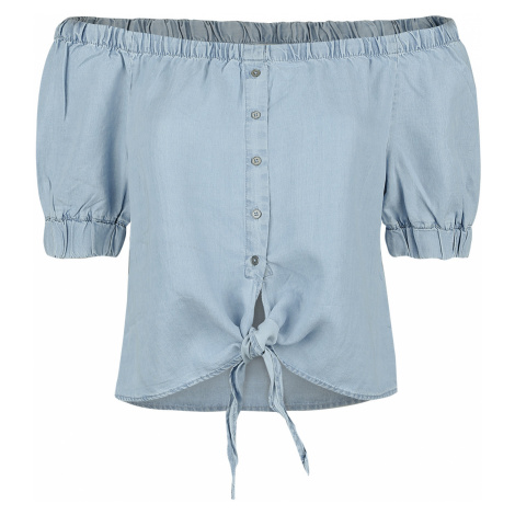 Noisy May - Endi Off Shoulder Tie Shirt - Blouse - light blue