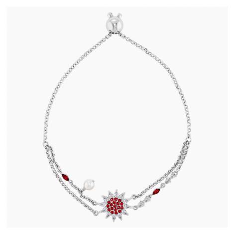 Botanical Bracelet, Red, Rhodium plated Swarovski