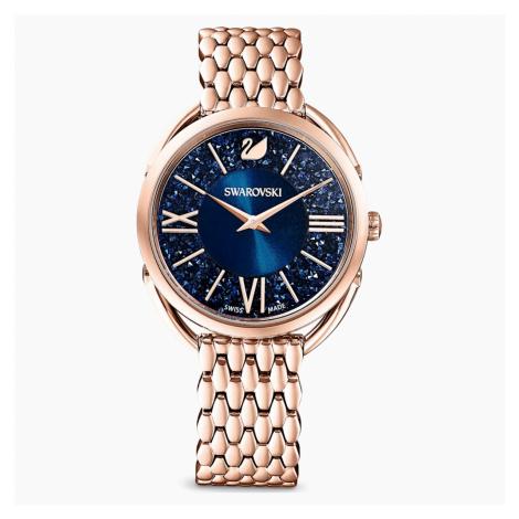 Crystalline Glam Watch, Metal bracelet, Blue, Rose-gold tone PVD Swarovski