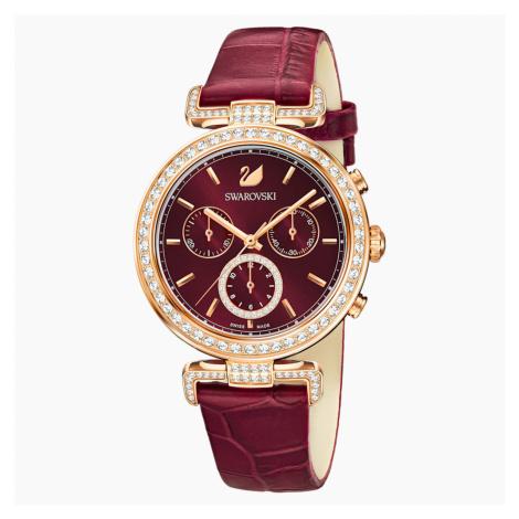 Era Journey Watch, Leather strap, Dark red, Rose-gold tone PVD Swarovski