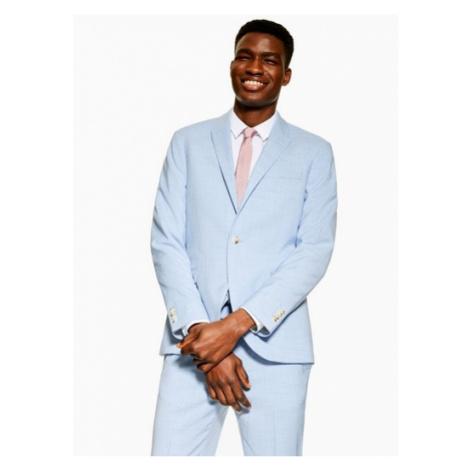 Mens Light Blue Skinny Fit Single Breasted Suit Blazer With Peak Lapels, Blue Topman