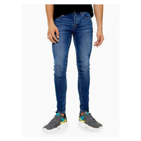Mens Blue Mid Wash Spray On Skinny Jeans, Blue Topman