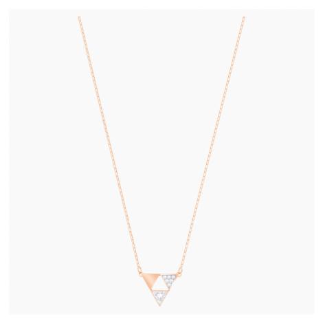 Heroism Necklace, White, Rose-gold tone plated Swarovski
