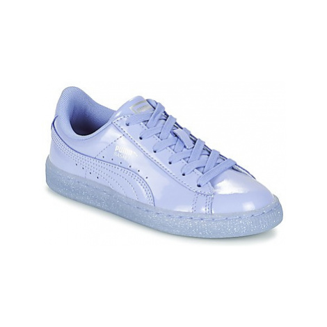 Puma BASKET PATENT ICED GLITTER PS girls's Children's Shoes (Trainers) in Purple